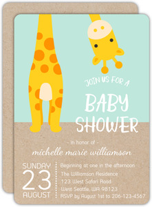 Peek-a-boo Giraffe Safari Baby Shower Invitation