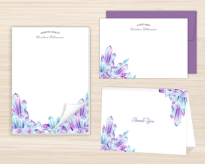 Watercolor Crystal Gems Stationery Set