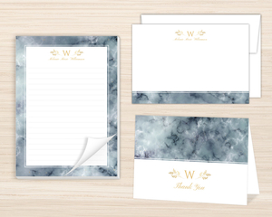 Elegant Fog Marble Personalized Stationery Set