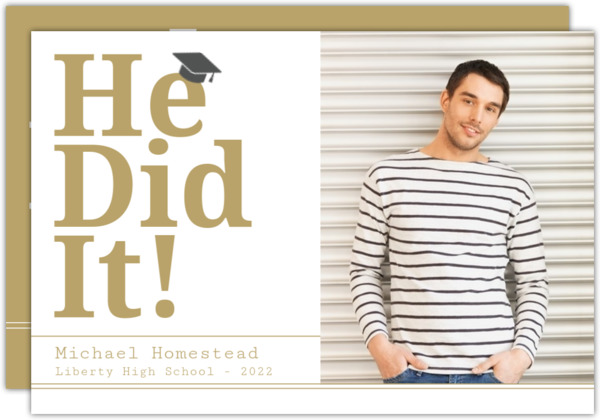 Modern Bold He Did It Graduation Announement