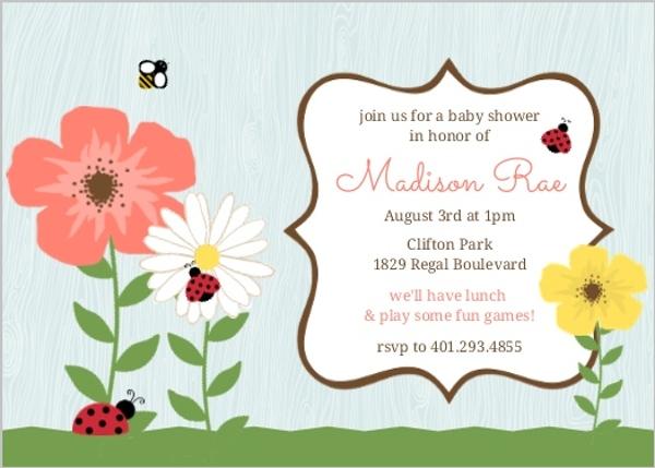 Woodgrain flower garden ladybug baby shower invitation girl baby woodgrain flower garden ladybug baby shower invitation filmwisefo