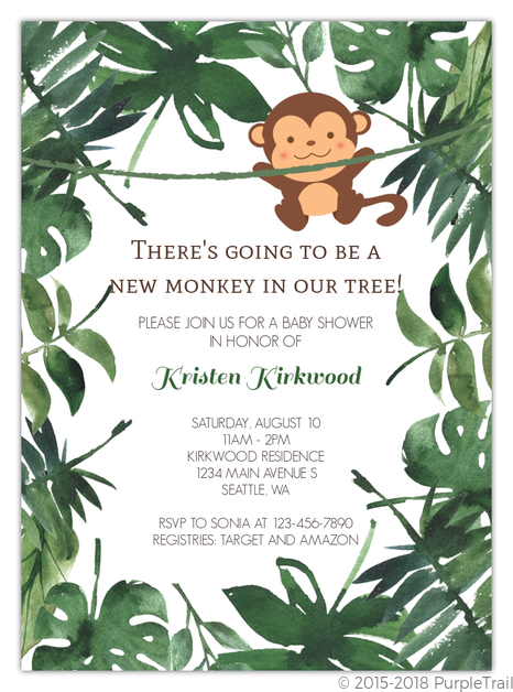 Wild Monkey Baby Shower Invitation