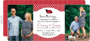 Red Polkadots Ladybug Baby Shower Invitation
