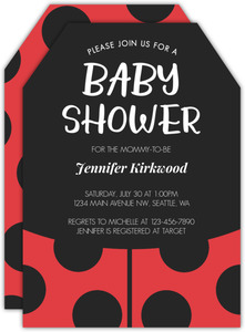 Rustic Woodgrain Ladybug Baby Shower Invitation