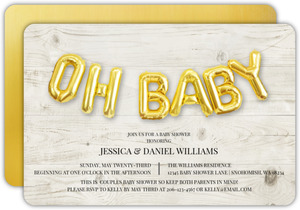 Oh Baby Faux Foil Balloons Couples Baby Shower Invitation