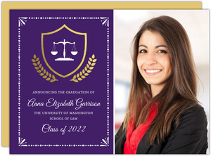 Gold Foil Crest Law School Graduation Invitation