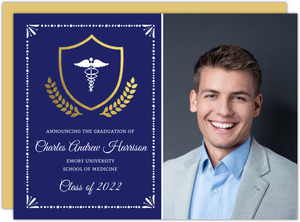 Gold Foil Crest Medical School Graduation Invitation