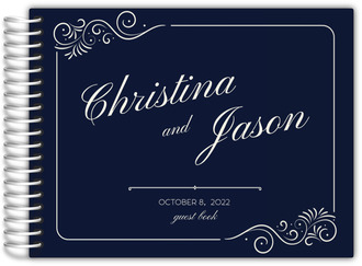 Elegant Swirly Frame Wedding Guest Book