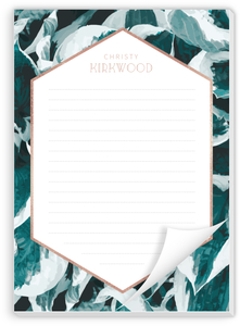 Blue Pothos Pattern Custom Notepad