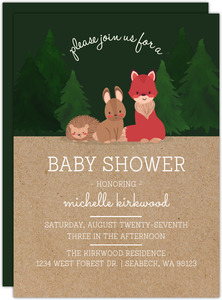 Kraft Paper Woodland Creatures Baby Shower Invitation