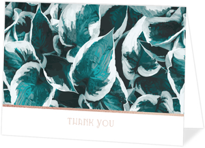 Blue Pothos Pattern Thank You Card