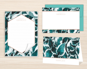 Blue Pothos Pattern Stationery Set