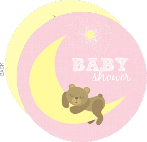 Pink Bear on Moon Girl Baby Shower Announcement