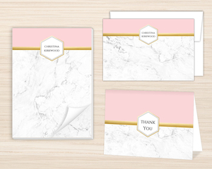 Faux Foil Marble Stationery Set