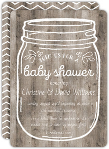 Rustic Wooden Mason Jar Couples Baby Shower Invite