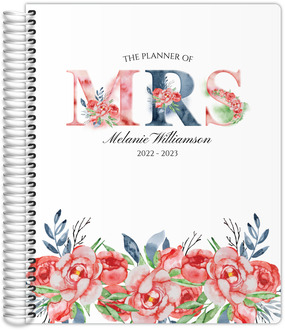 Pink Floral Mrs Teacher Planner