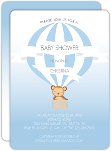 Monkey Hot Air Balloon Baby Shower Invitation