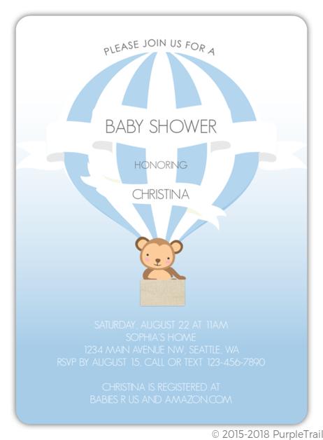 Monkey Hot Air Balloon Baby Shower Invitation Monkey Baby Shower