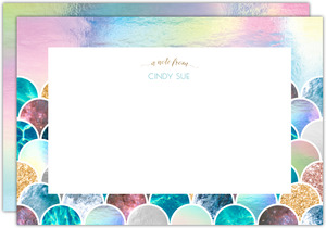 Faux Glitter Mermaid Scales Custom Notecard