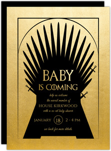 Faux Gold Foil Throne Baby Shower Invitation