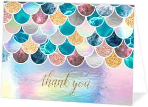 Faux Glitter Mermaid Scales Custom Thank You Card