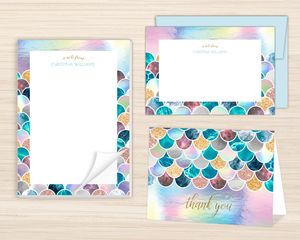 Faux Glitter Mermaid Scales Stationery Set