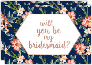 Navy Romantic Floral Will You Be My Bridesmaid Card