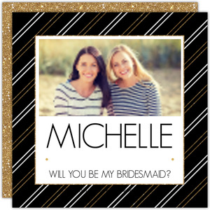 Modern Glitter Frame Will You Be My Bridesmaid Card