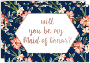 Navy Romantic Floral Will You Be My Made of Honor Card