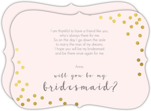 Faux Foil Confetti Will You Be My Bridesmaid Card