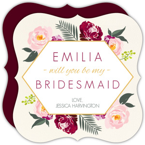 Burgundy Floral Decor Will You Be My Bridesmaid Card