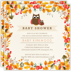 Fall Mom and Baby Owl Baby Shower Invitation