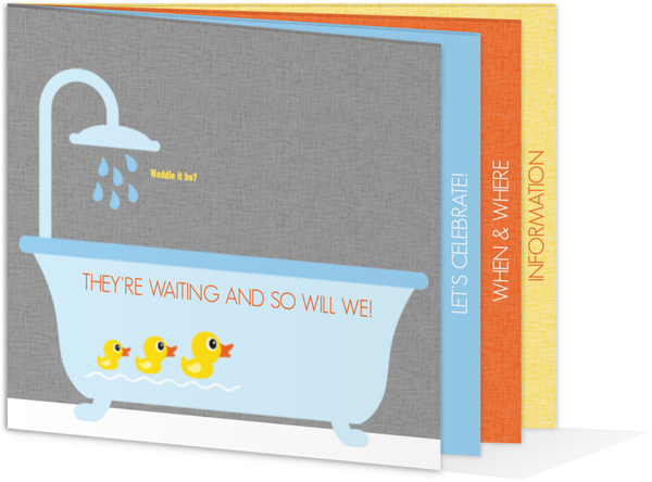 Rubber Ducky Themed Gender Neutral Baby Shower Invitation Gender