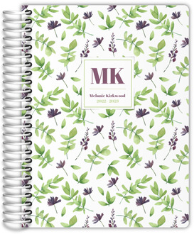 Whimsy Watercolor Leaf Pattern Daily Planner