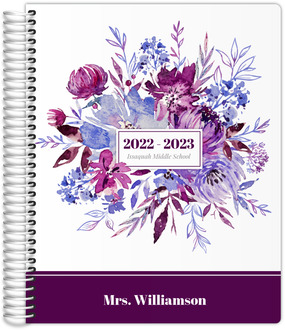 Purple Floral Watercolor Decor Teacher Planner