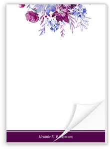 Purple Watercolor Floral Personalized Notepad