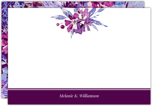 Purple Watercolor Floral Personalized Notecard