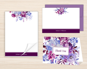 Purple Watercolor Floral Personalized Stationery Set