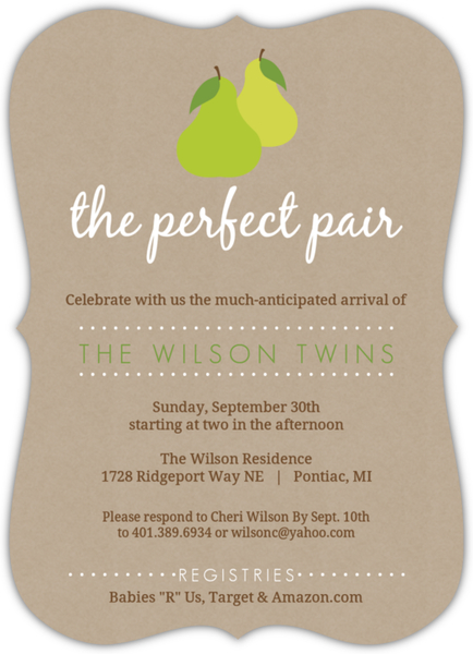 Pair of pears textured twin baby shower invite gender neutral baby pair of pears textured twin baby shower invite filmwisefo
