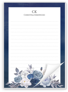Navy Floral Arrangement Personalized Notepad