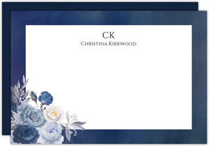 Navy Floral Arrangement Personalized Notecard