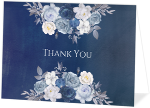 Navy Floral Arrangement Personalized Thank You Card