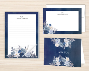 Navy Floral Arrangement Stationery Set