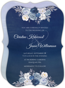 Navy Floral Arrangement Wedding Invitation