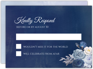 Navy Floral Arrangement Wedding Response Card