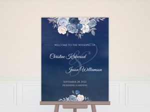 Navy Floral Arrangement Wedding Welcome Poster