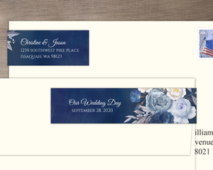 Navy Floral Arrangement Address Label