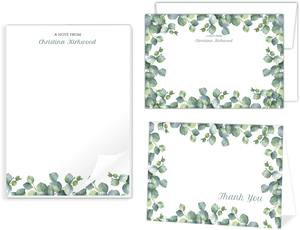 Greenery Watercolor Foliage Stationery Set