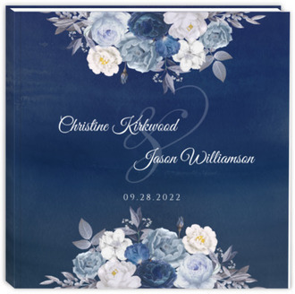 Navy Floral Arrangement Wedding Guest Book