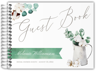 Delicate Cotton Plant Bridal Shower Guest Book
